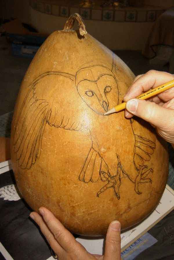 Group owl tutorial a for Gourd carving patterns